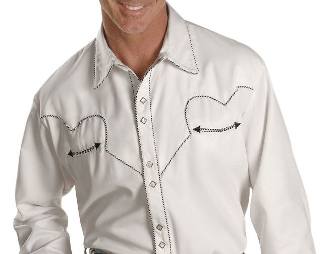 Scully White Retro Western Shirt