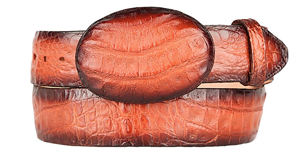 Faded Cognac Caiman Belly Cowboy Belt