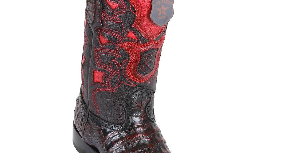 Los Altos Men's Caiman Belly European Toe Cowboy Boots - Black Cherry