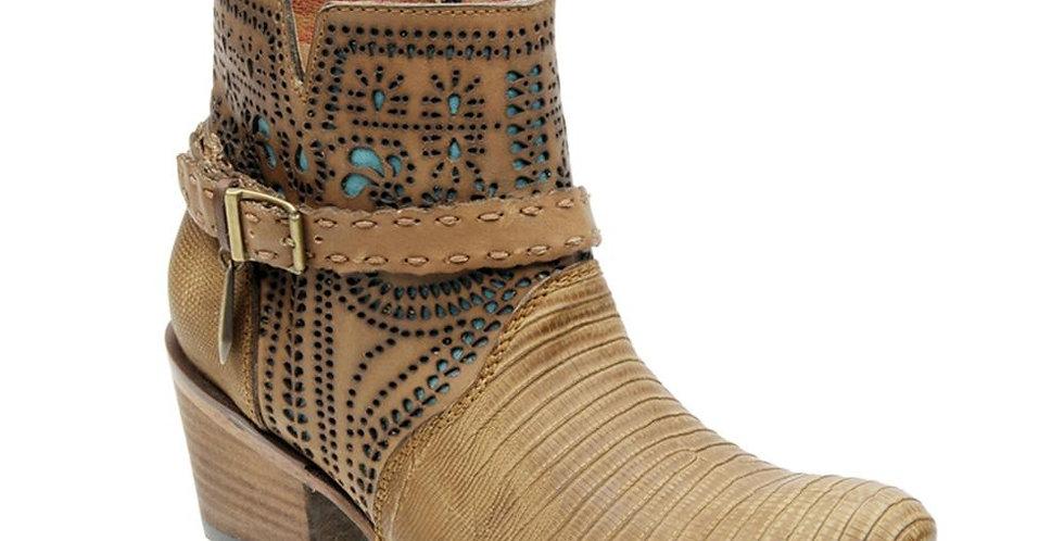 Cuadra Ladies Lizard Ankle Boot Fango Oryx