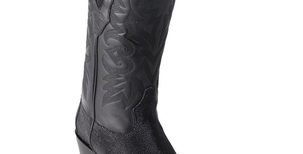 Los Altos Men's Single Stone Stingray Square 7-Toe Cowboy Boots