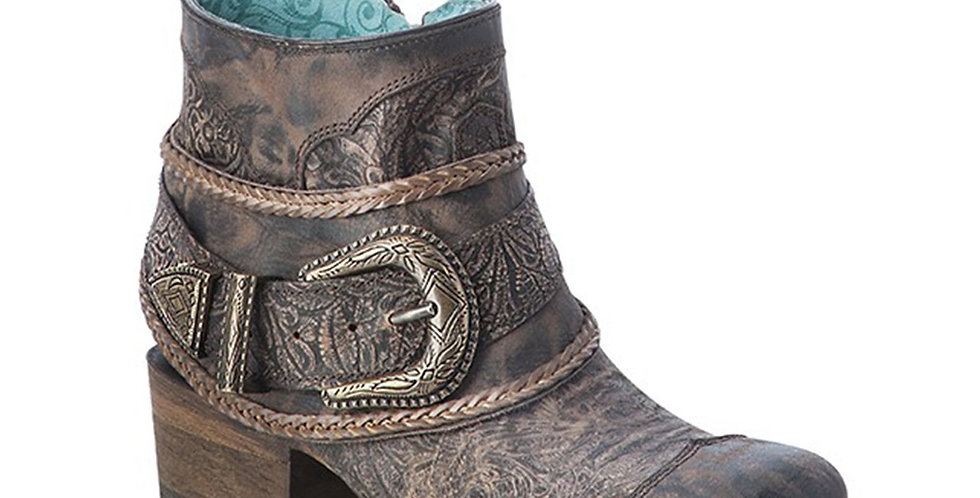 Corral Brown Floral Embossed Strap Shortie Boot