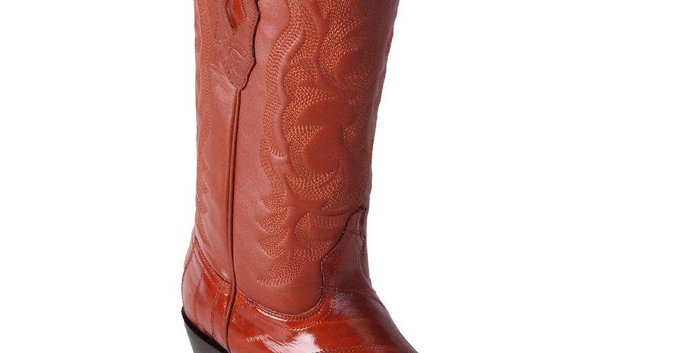 Los Altos Men's Cognac Eel Cowboy Boot R-Toe