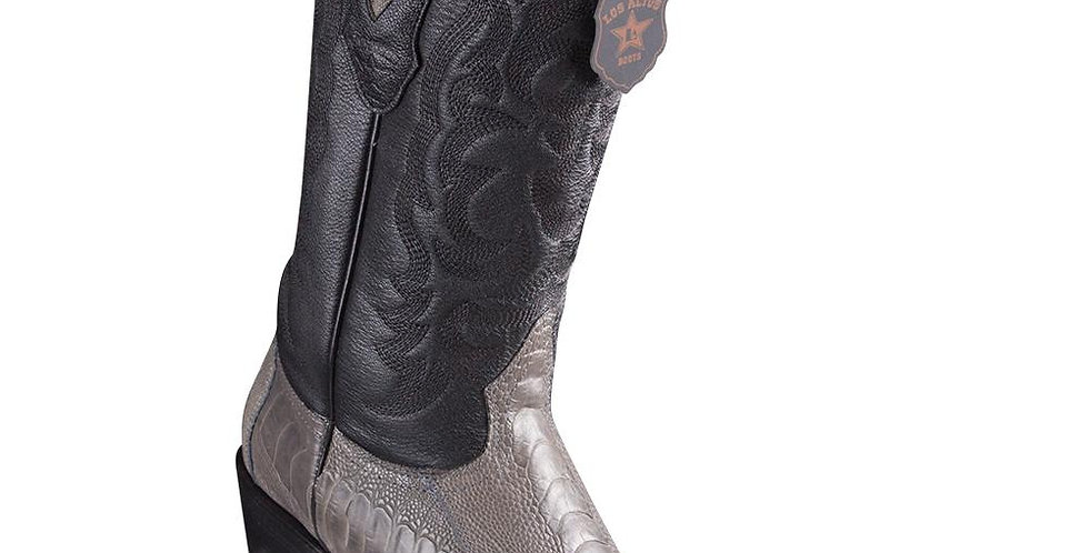 Los Altos J-Toe Ostrich Leg Grey Cowboy Boots