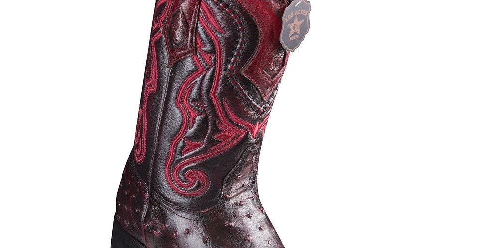 Los Altos Ostrich Black Cherry Pointed Toe Cowboy Boots