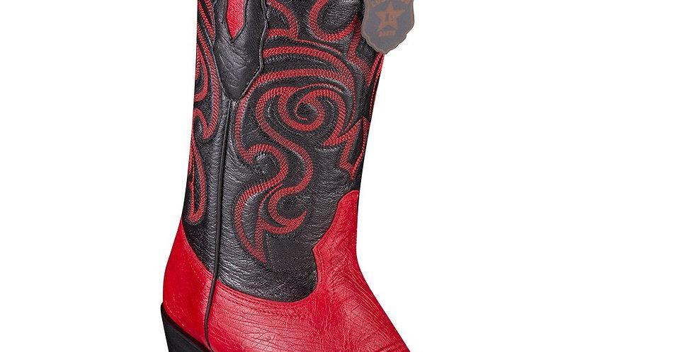 Los Altos Smooth Ostrich Red Cowboy Boots J-Toe