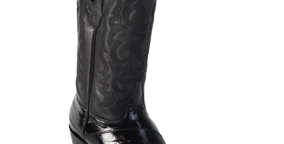 Los Altos Men's Eel Black R-Toe Cowboy Boots