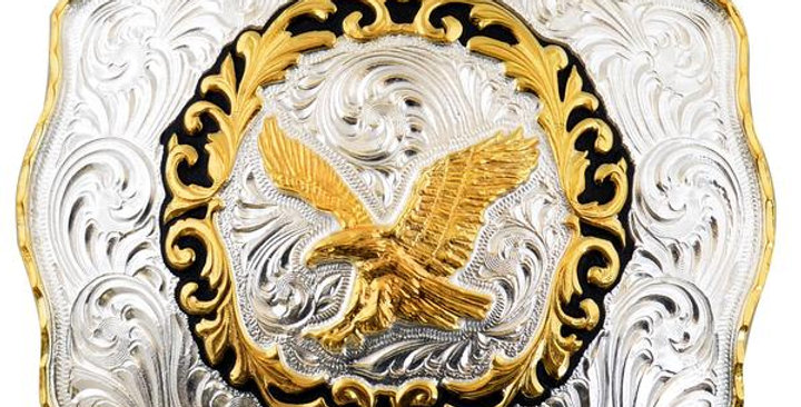 RECTANGULAR METAL BUCKLE WITH EAGLE WD037
