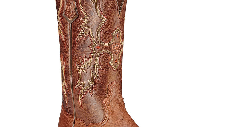 Ariat Men's Tombstone Brandy Smooth Ostrich Quill Boots