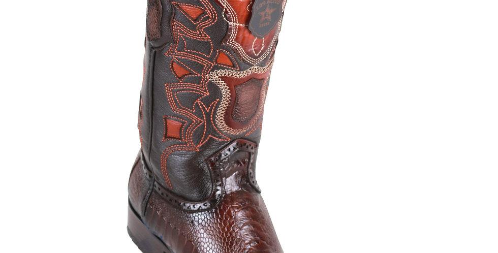Los Altos Men's Ostrich Leg Faded Brown European Toe Cowboy Boots