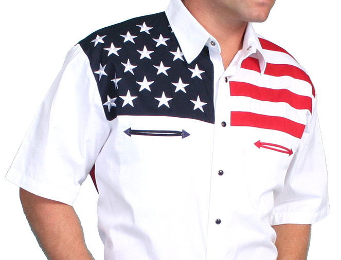 Scully American Flag Colorblock Western Shirt - Big & Tall