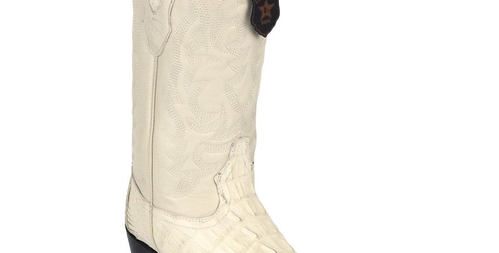 Los Altos Winter White Caiman Tail J-Toe Boot