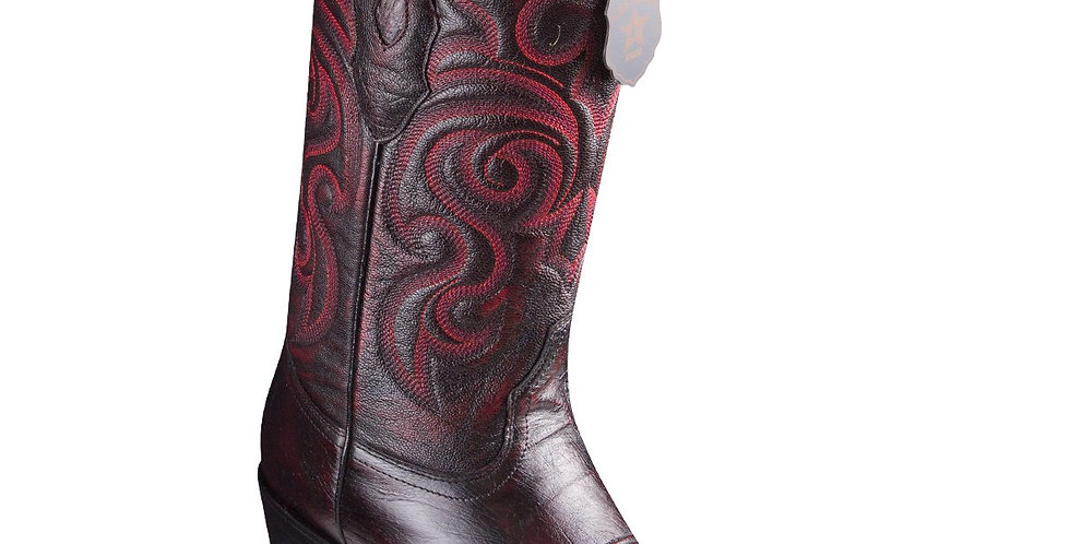 Los Altos Smooth Ostrich Black Cherry Cowboy Boots J-Toe