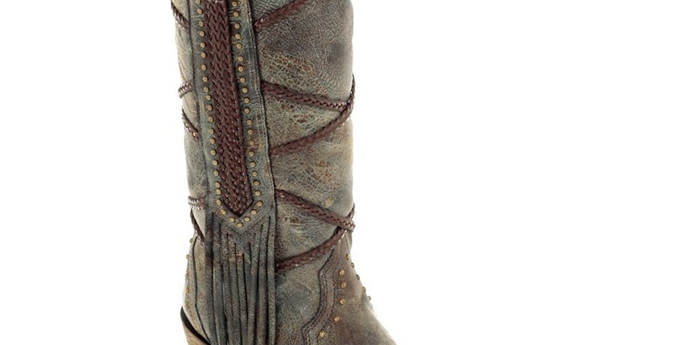 Corral Women's Braided Overlay and Studs Western Boots