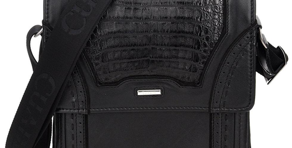 Cuadra Black Caiman Belly Messenger Bag