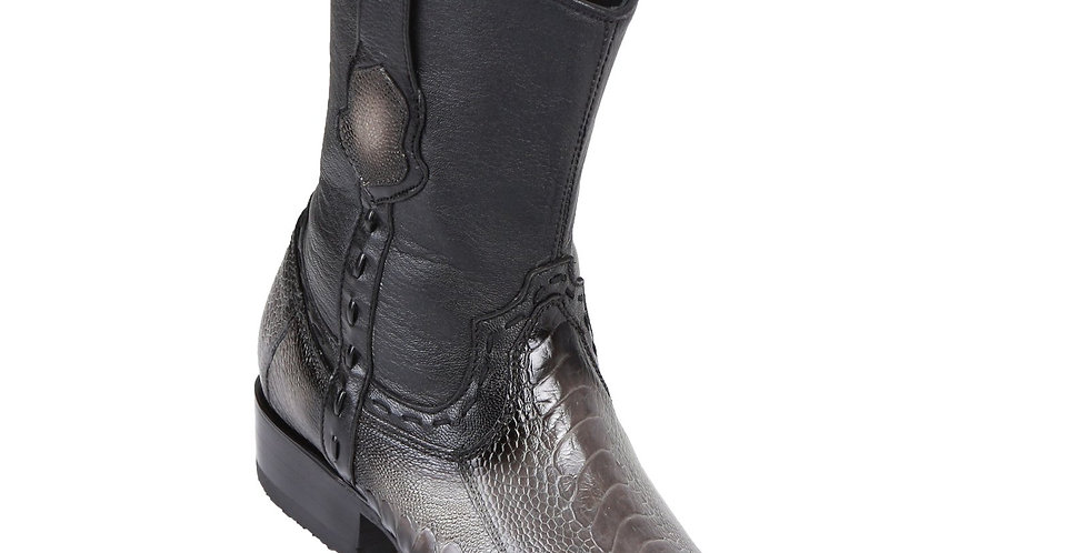 King Exotic Men's Ostrich Leg Boots Faded Grey - H79B Dubai Toe