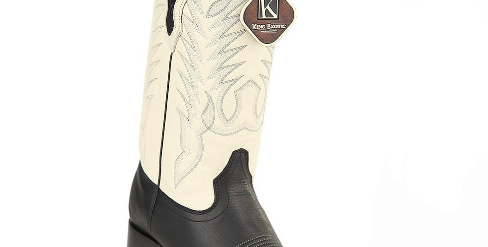 King Exotic Men's Grisly Black Wide Square Toe Boots