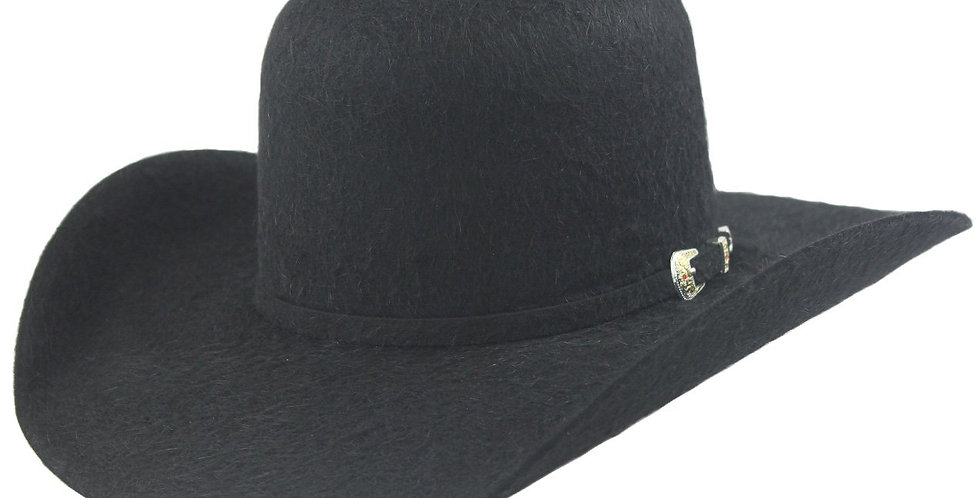 Cuernos Chuecos 30x Open Crown Black Grizzly Fur Felt Cowboy Hat
