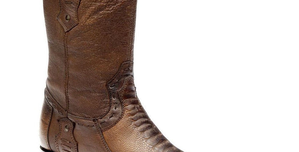 Cuadra Men's Honey Ostrich Leg Boots - Semi Square Toe