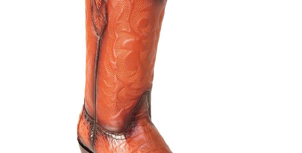 Los Altos Men's Faded Cognac Caiman Belly Snip Toe Cowboy Boot