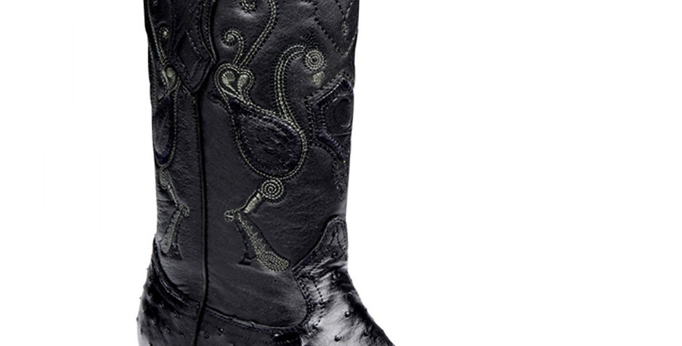 Cuadra Men's Ostrich Black Chihuahua Pointed Toe Boots - Black