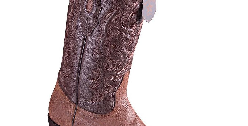 Los Altos Men's Bull Shoulder Brown Snip Toe Cowboy Boots
