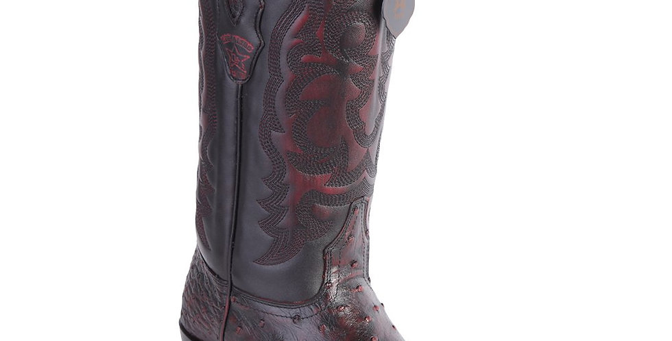 Los Altos Men's Black Cherry Ostrich R-Toe Western Boots