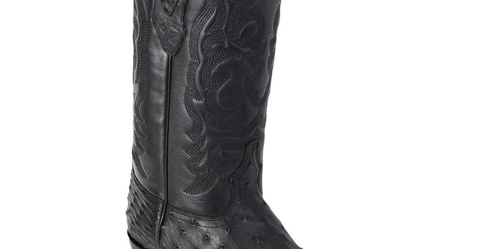 Los Altos J-Toe Ostrich Black Cowboy Boots