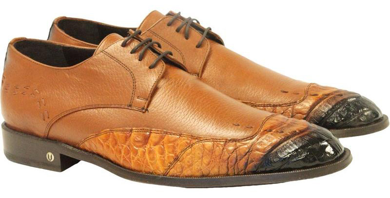 Men's Vestigium Genuine Caiman Belly Derby Shoes Handcrafted