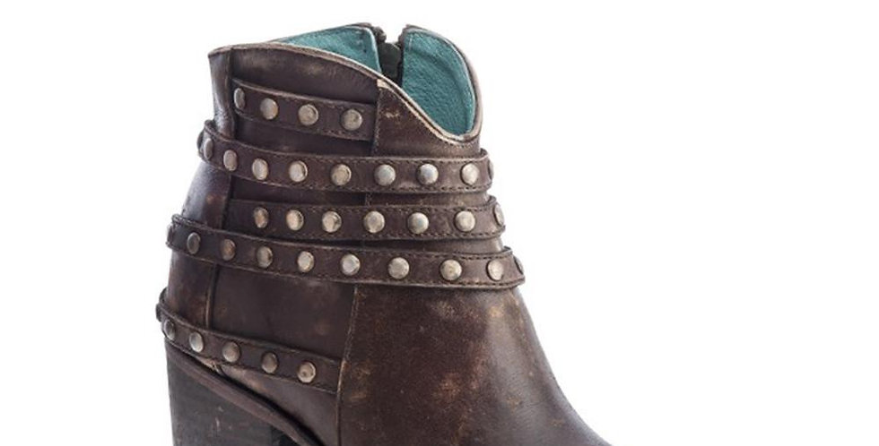 Corral Brown Studded Straps Ankle Boot
