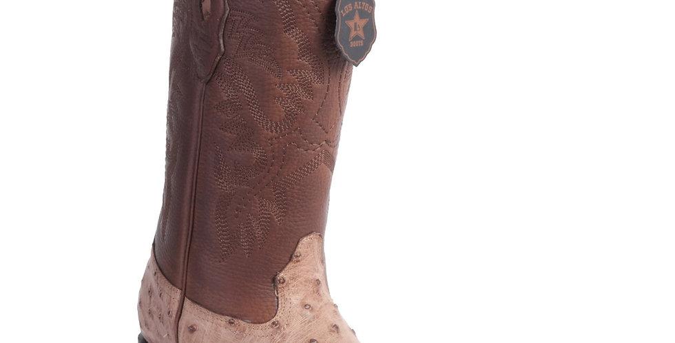 Los Altos Men's Moka Wide Square Toe Ostrich Cowboy Boots