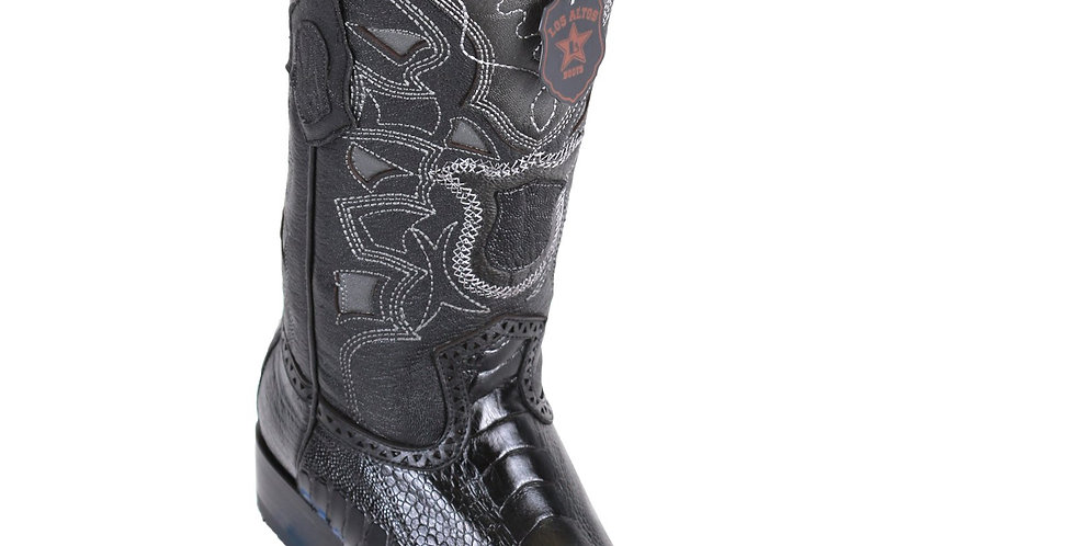 Los Altos Men's Ostrich Leg European Toe Black Western Boots