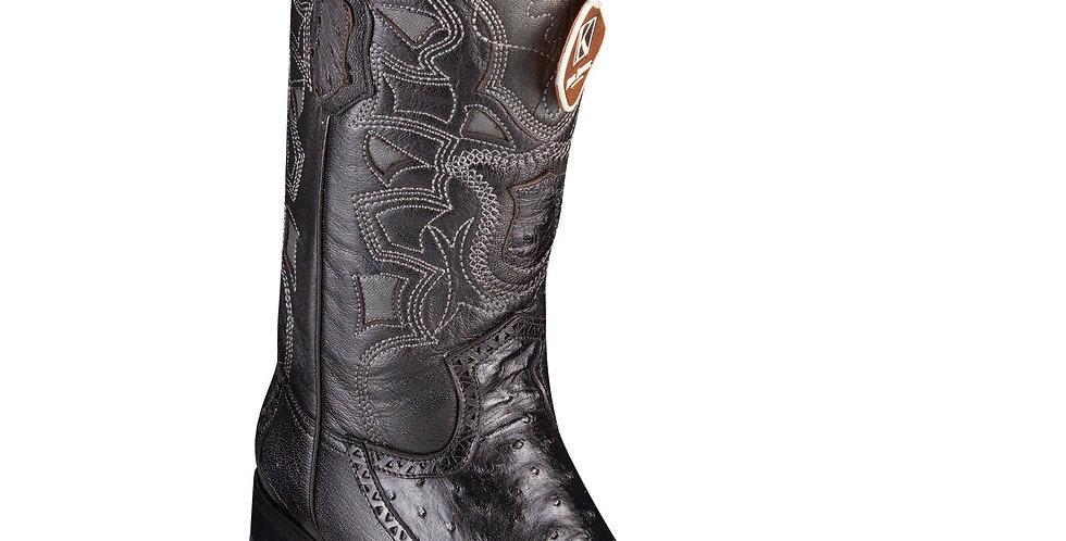 King Exotic Men's Ostrich Black Cowboy Boots - H76 European Toe