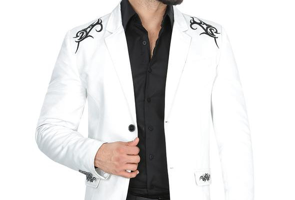 Modern Regular Fit Cut Fabric Whit Design Blazer - White