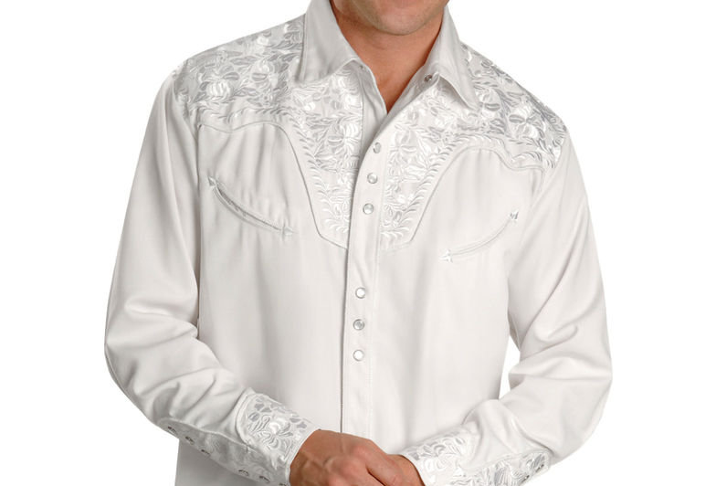 Scully Men's White Embroidered Gunfighter Shirt