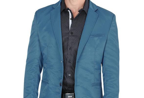 Modern Regular Fit Cut Fabric Whit Design Blazer -Teal