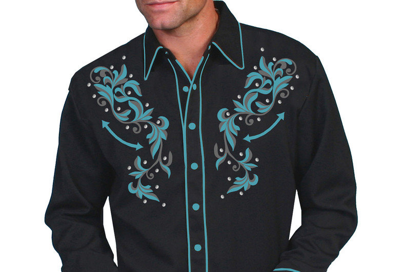 Scully Men's Turquoise Embroidered Shirt