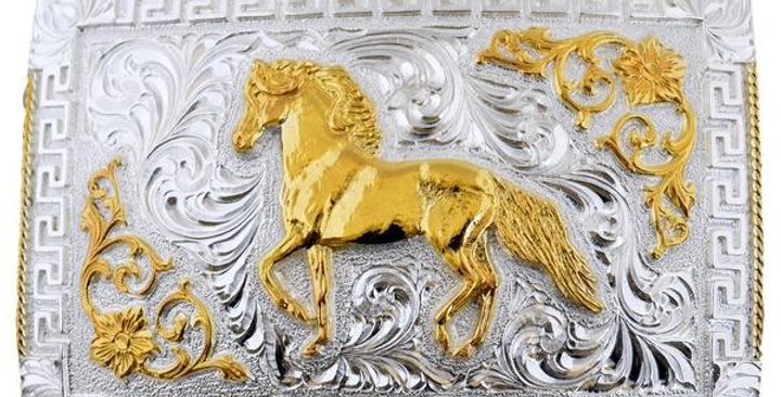 METAL BUCKLE WITH GOLDEN HORSE WD016