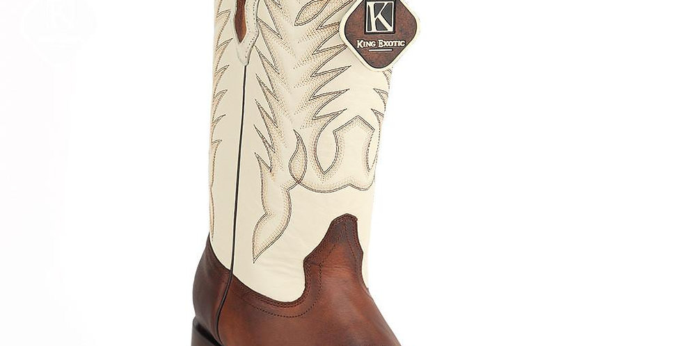 King Exotic Men's Rage Walnut Wide Square Toe Cowboy Boot