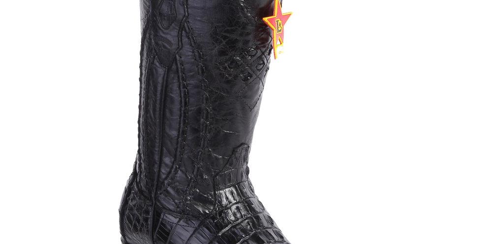Los Altos Men's Caiman Tail 3x Toe Black Cowboy Boots