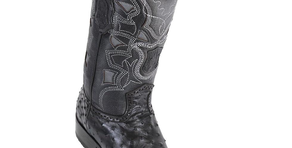 Los Altos Men's Ostrich European Toe Western Boots - Black