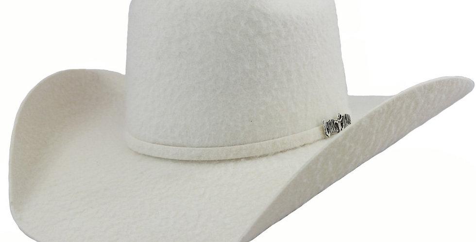 Cuernos Chuecos 10x White Grizzly Brick Crown Cowboy Hat
