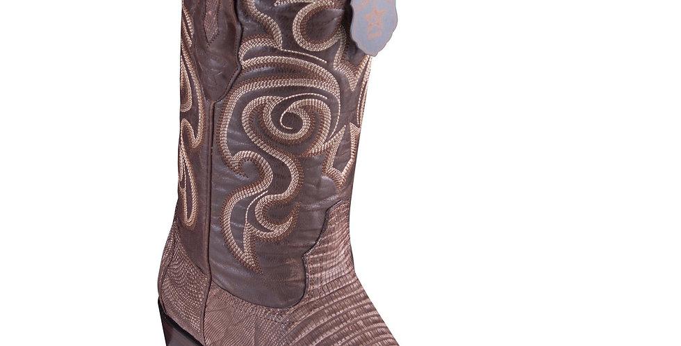 Los Altos Lizard Teju Sanded Brown Cowboy Boots J-Toe