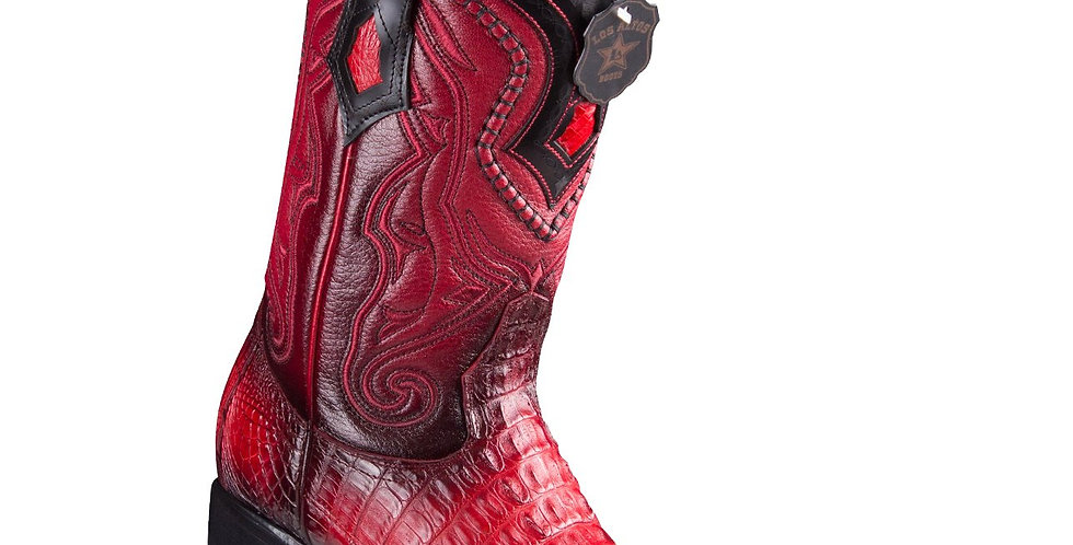 Los Altos Boots Caiman Tail Red Pointed Toe Cowboy Boots