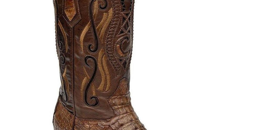 Cuadra Men's Crocodile Horn Back Nogal Pointed Toe Boots