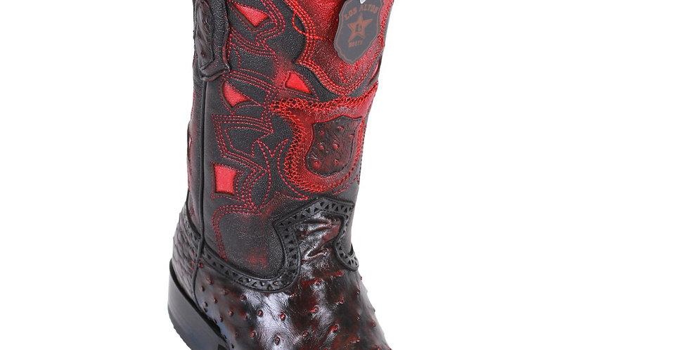 Los Altos Men's Ostrich European Toe Western Boots - Black Cherry
