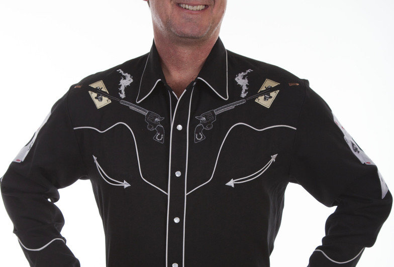 Scully Men's Pistols & Cards Embroidered Shirt