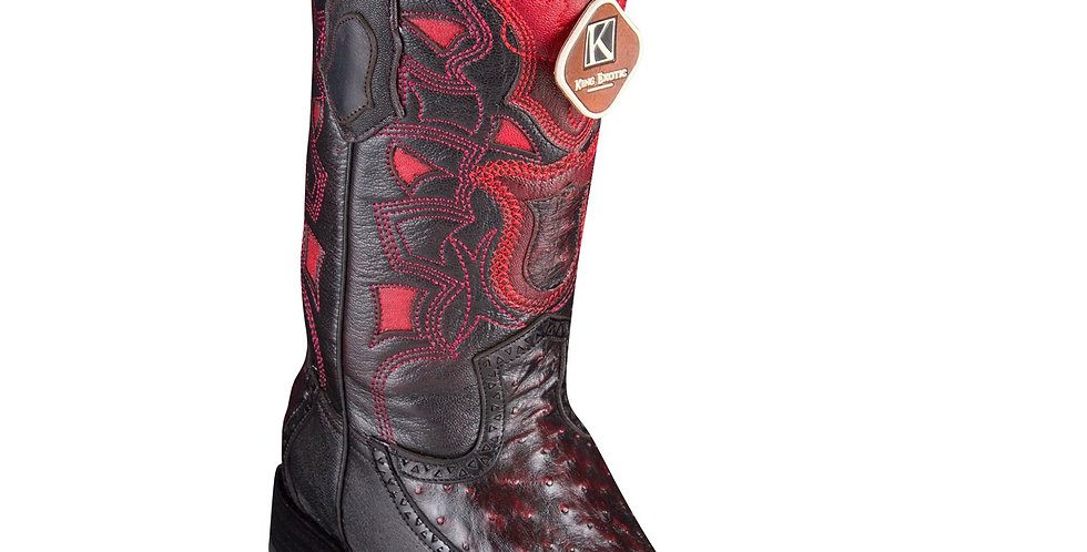 King Exotic Men's Ostrich Black Cherry Cowboy Boots - H76 European Toe