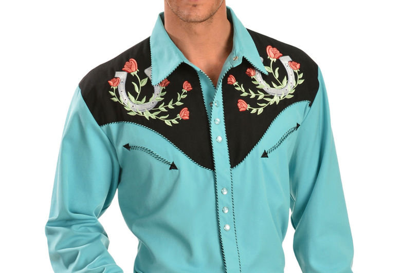 Scully Rose & Horseshoe Embroidered Retro Western Shirt