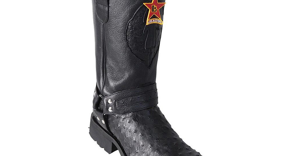 Men's Los Altos Full Quill Ostrich Motorcycle Boots Handmade